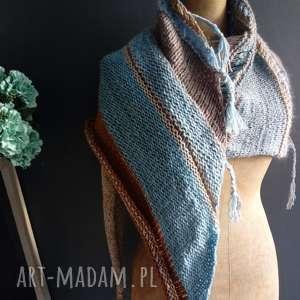 duża chusta, szal, na-drutach, kobieca, wełniana