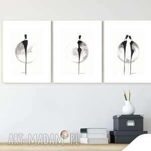 zestaw 3 grafik 21 x 30 cm wykonanych ręcznie, grafika czarno-biała, abstrakcja