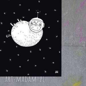 grafika ze świnką w kosmosie cosmic piggy a4, grafika, plakat, świnka, kosmos