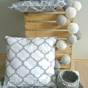 dekoracje poszewka na poduszkę koniczyna marokańska biała, poduszka, poszewki