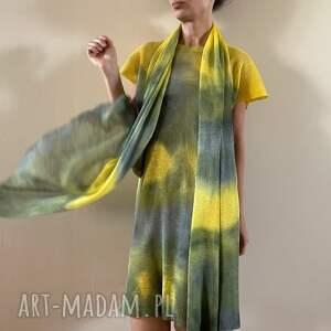handmade szaliki szal lniany yellow&gray