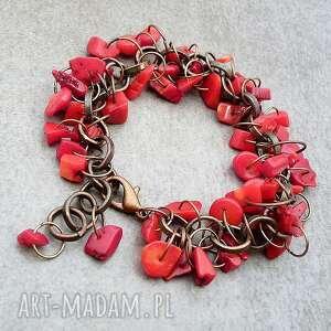 kaskada czerwieni, koral, miedź, miedziany, ogniwo, stylowy, koralowce