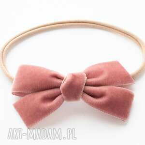 opaska do włosów velvet bow dusky pink, kokarda, welurowa kokarda