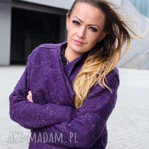 non tess fioletowy sweter ze złotą nitką, lureks, pleciony, sweter, oczka, złoty