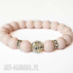 bransoleta nude zircons, cyrkonie, kryształki, błyszcząca, elegancka, koraliki