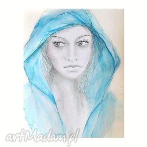 blue 2 , akwarela rysunek, portret kobiety - obraz