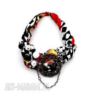 SZACHOWNICA naszyjnik handmade, naszyjnik, kolorowy, wielobarwny, czarnobiały