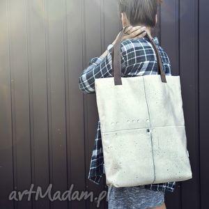handmade na ramię torba mr m beton / uszy skóra naturalna