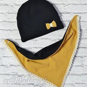 Zimowy komplet czapka i apaszka musztarda kokarda, czapka, komin, apaszka, szal