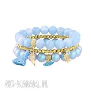 zestaw bransolet z jadeitów i pereł - perła, prezent hematyt