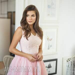 sukienka lana mini różowa - mini, rozkloszowana, koronka, szyfon, wesele