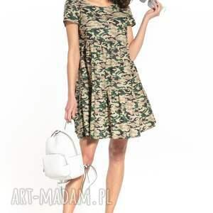 sukienki sukienka mini z dwoma falbanami i krótkim rękawem, t343, ciemne moro