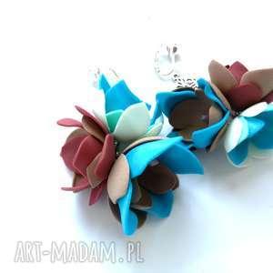 klipsy lekkie kwiatowe boho kolorowe folk, klipsy, etno, boho, lekkie, kwiaty