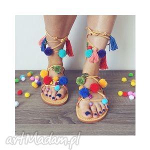 40- kolorowe rzymianki z pomponami w stylu boho, sandały, rzymianki, boho