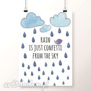 Plakat RAIN A3, deszcz, konfetti, krople, kropelki, deszczyk, chmury