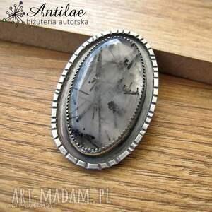 Kwarc turmalinowy, wisior z kwarcem, biało-czarna biżuteria, srebro, kwarc
