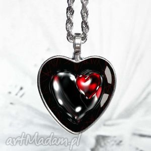 Prezent HOT HEART naszyjnik serce z grafiką w szkle, serce, serduszko, walenynki