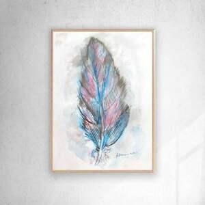 oprawiony rysunek z piórkiem, piórko w ramce, obraz malowany
