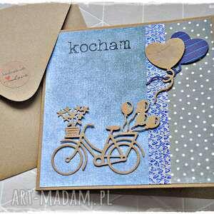 hand-made scrapbooking kartki kartka na walentynki z rowerem