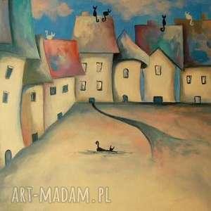 Obraz na płótnie - Bajkowe miasteczko format 40/30 cm, miasteczko, niebieski, szary