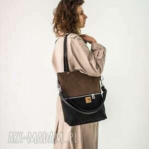 torebki czarno brązowa torba z wodoodpornego nubuku, wodoodporna, shopper