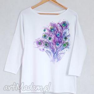 PAWIE PIÓRA bluzka bawełniana oversize L/XL biała, bluzak, koszulka, bawełna, nadruk