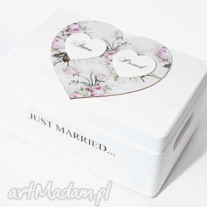Ślubne pudełko na koperty Kopertówka Personalizowane Just married, pudełko-na-koperty