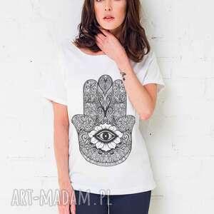 HAMSA Oversize T-shirt, oversize, tshirt, biały, casual, moda, bawełna
