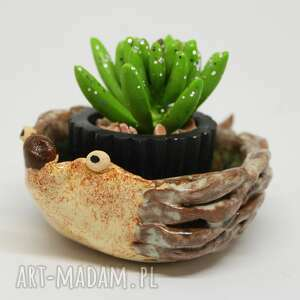 ceramiczna doniczka jeż handmade ozdoba prezent, jeż, ceramika