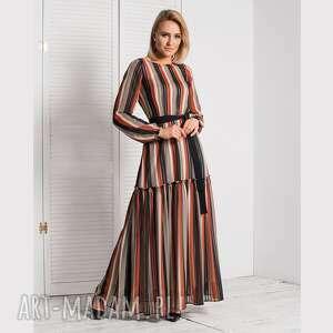 sukienka delia maxi samanta pasy pomarańczowe, maxi, wiosna, rozkloszowana