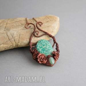 Prezent Różany naszyjnik z amazonitem rosyjskim, amazonit, róże, naszyjnik, dla-niej