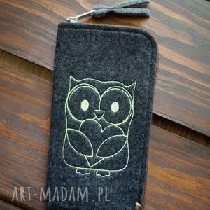filcowe etui na telefon - sówka, smartfon, pokrowiec, futerał, motyw leśny