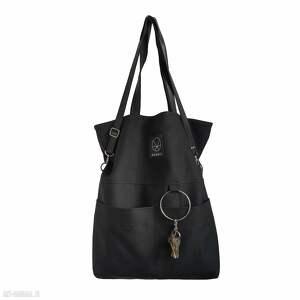 handmade na ramię czarna torebka zamek city noise black