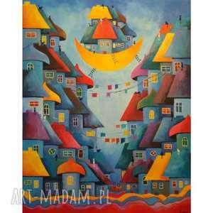 bajkowe miasteczko kotów - format 100/80 cm, bajka, obraz, niebieski, koty