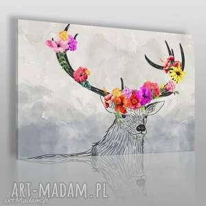 Obraz na płótnie - POROŻE KWIATY 120x80 cm (54201), łania, poroże, kwiaty, modny