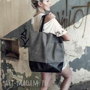 monest atelier duża szara torba oversize na ramię, do pracy, pojemna