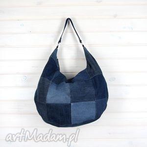 Hobo denim torba na ramię patchwork ciemna, hobo, denim, jeans, dżins, torba, pojemna