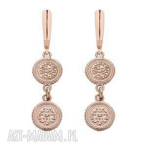 kolczyki z monetami z różowego złota sotho - pozłacane