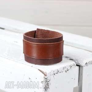 hand-made męska skórzana bransoleta brązowa