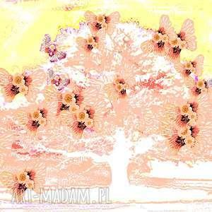 obraz do salonu, drzewo i motyle, 80 x 50, radosny nowoczesnego salonu