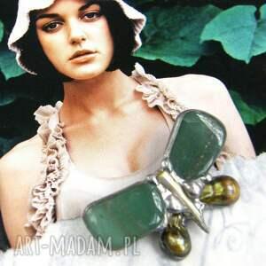 broszki broszka mały motyl zielony, awenturyn, kamień