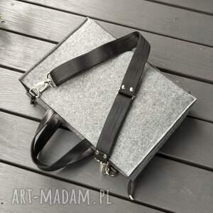 torba na laptop z filcu - szara skóra, torebka filcowa