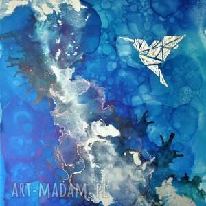 srebrny koliber -obraz do salonu i prezent - ręcznie malowany, dosalonu