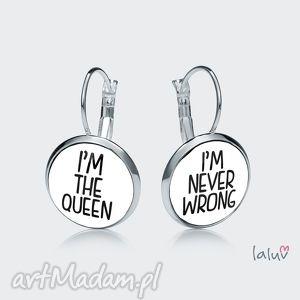 świąteczny prezent, kolczyki wiszące queen, śmieszny, napis, zabawne, królowa