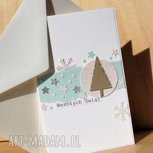 Prezent Świąteczna kartka, święta, świąteczna, śnieżka, śnieżynki, choinka, bożona