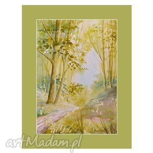 obrazy leśne prześwity, akwarela, obrazy, ręcznie, malowane, pejzaż