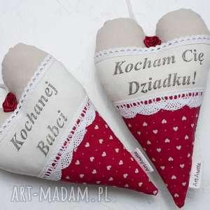 ręczne wykonanie dekoracje serce serduszko dzień babci i dziadka komplet