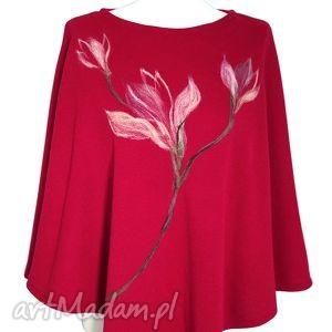 Ponczo zdobione wełną - magnolie, poncho, ponczo, kwiaty, filcowane