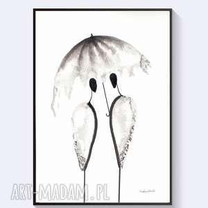 oryginalna grafika czarno-biała, obraz ręcznie malowany, abstrakcja minimalizam