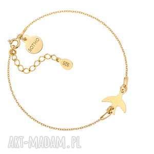 Złota bransoletka z jaskółką sotho bransoletka, zawieszka, ptak